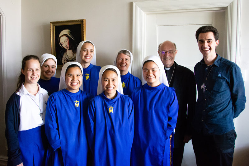 Sisters of the Immaculata with Brother and Archbishop Julian Porteous